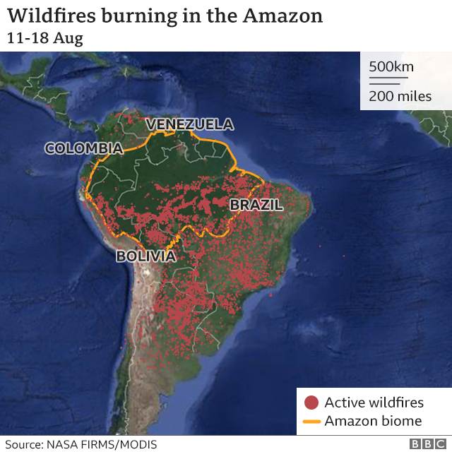 Map of fires across Latin America