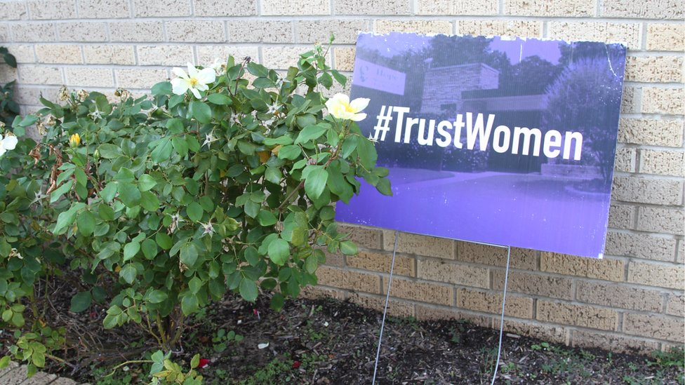 TrustWomen banner outside a clinic