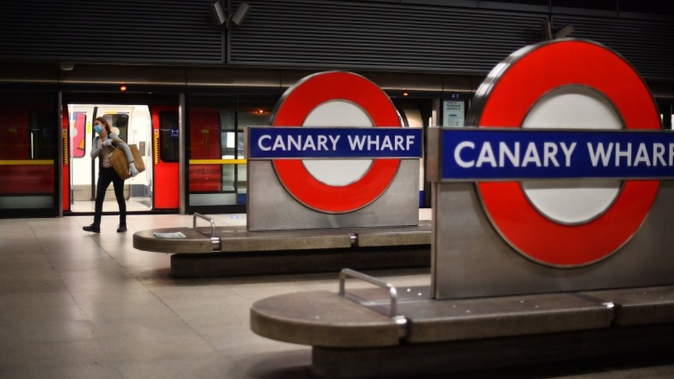 Commuter at Canary Wharf