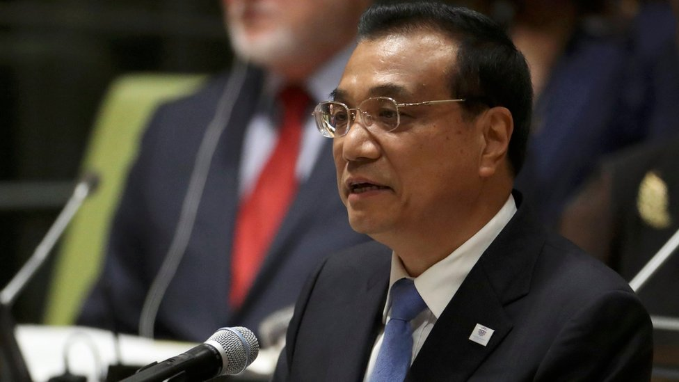 Chinese Premier Li Keqiang speaks at a high-level meeting on addressing large movements of refugees and migrants at the United Nations General Assembly in New York