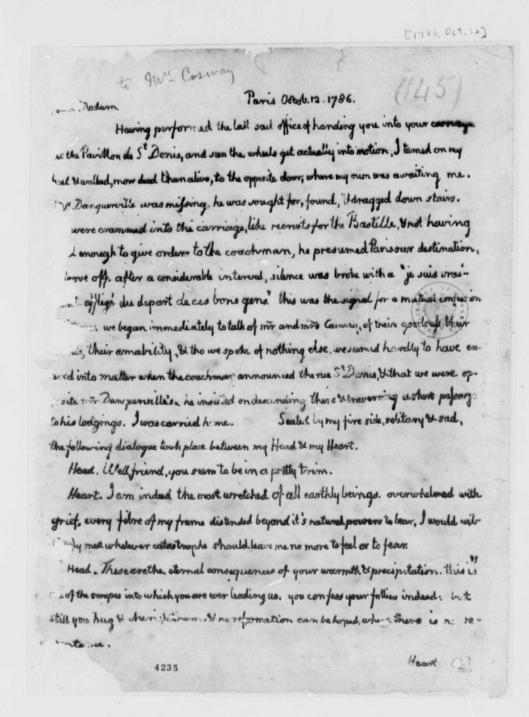 Carta de Thomas Jefferson a María Cosway.