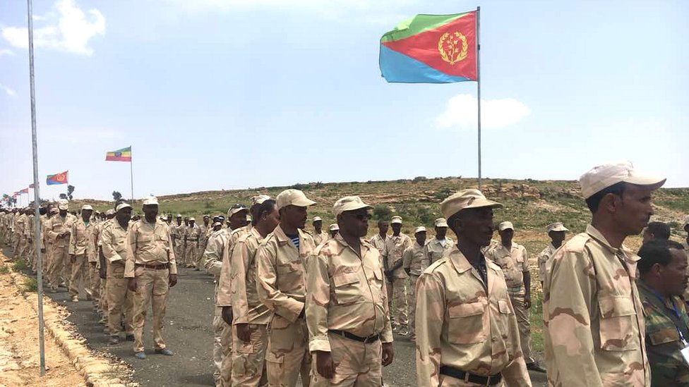 Eritrean troops at the border