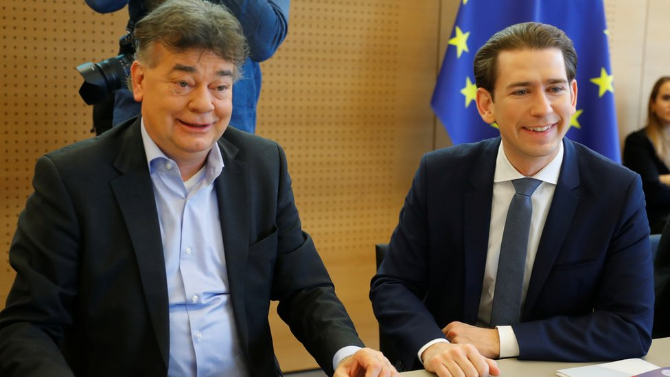 Werner Kogler, left, at a cabinet meeting with Sebastian Kurz in January