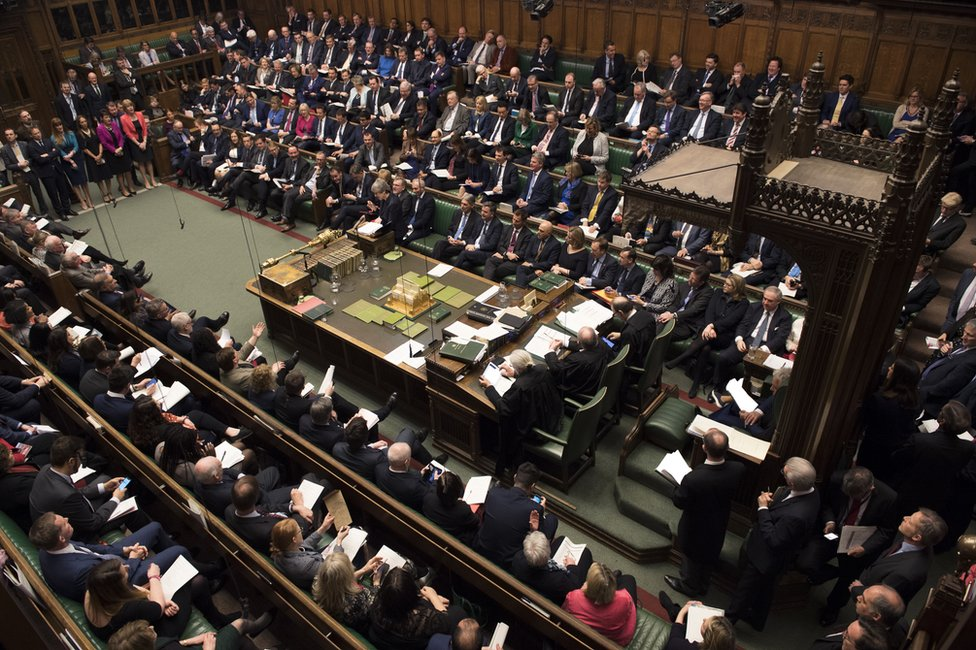 A wide shot of the House of Commons