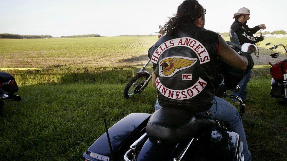 Hells Angels members on Harley-Davidson bikes in Illinois, US. File photo