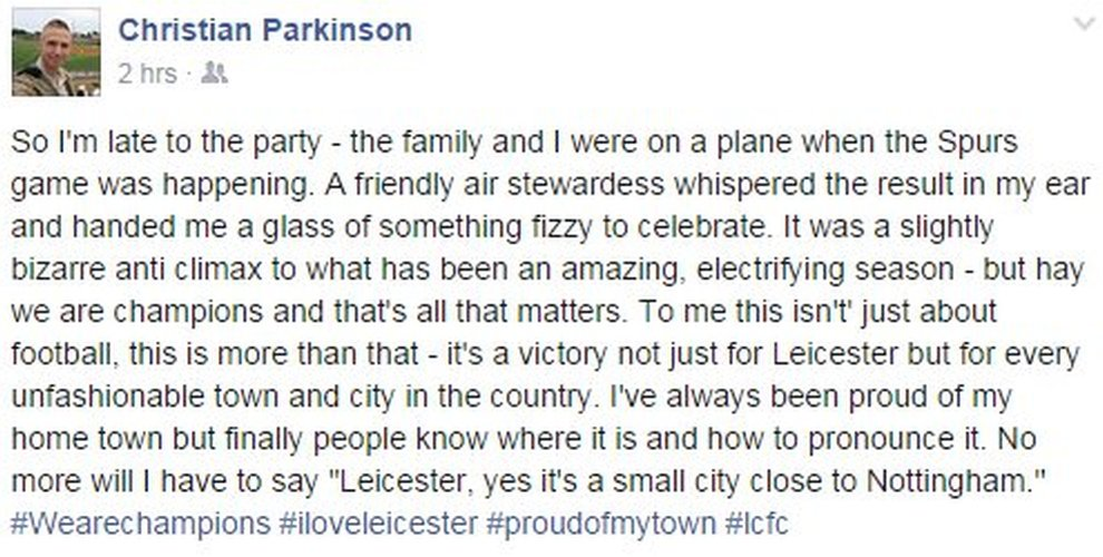 Facebook post by BBC cameraman on how he learned in mid-air about Leicester City's Premier League win - 2 May 2016