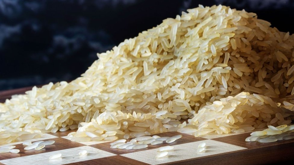 Rice grains on a chessboard