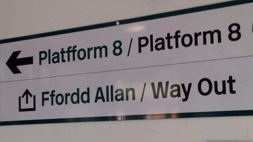 Platform 8 sign at Cardiff Central