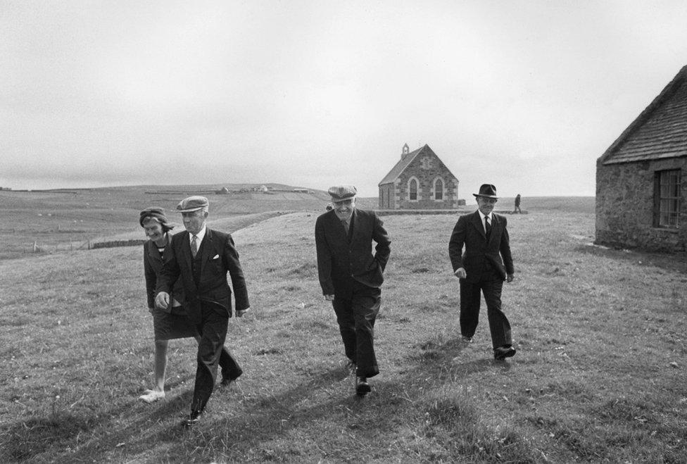 After church, Fair Isle