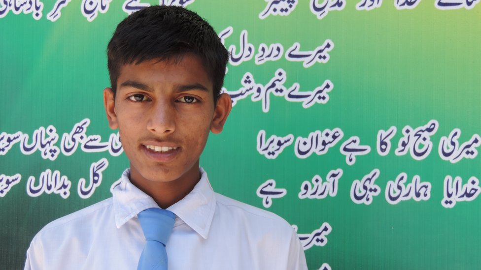 Asad Mir, a 10th grade student at Sawera school (June 2015)