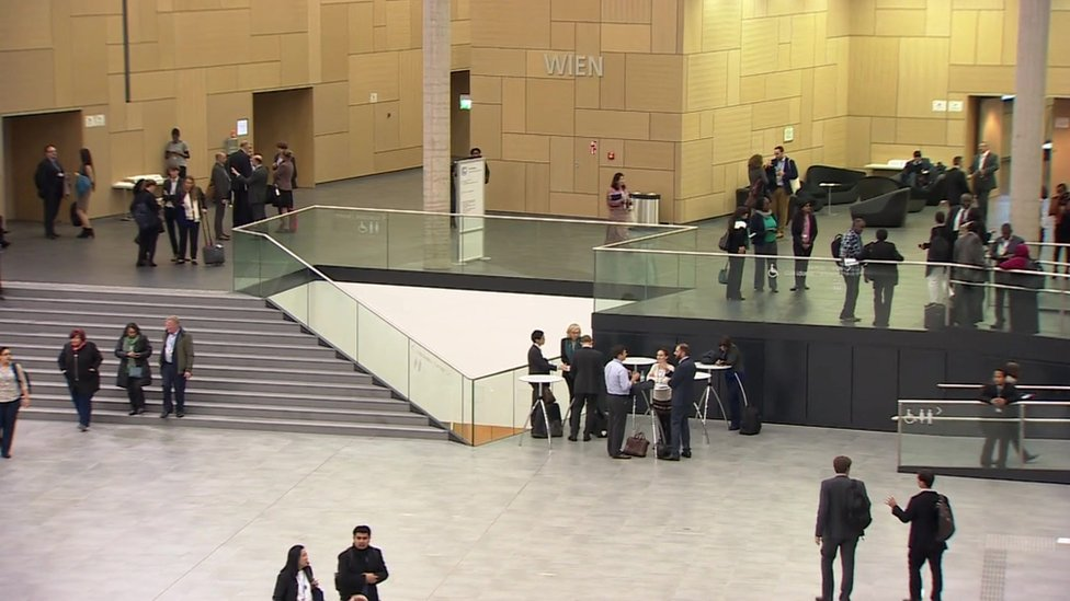 Inside the conference centre