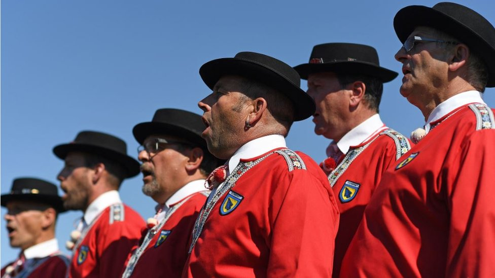 A men's yodel group pictured in Payerne, western Switzerland.