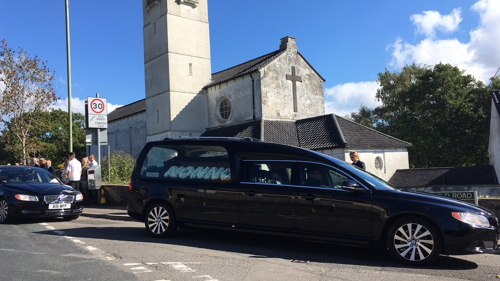 Enzo Calzaghe's hearse arrives at Our Lady of Peace Parish Church in Newbridge