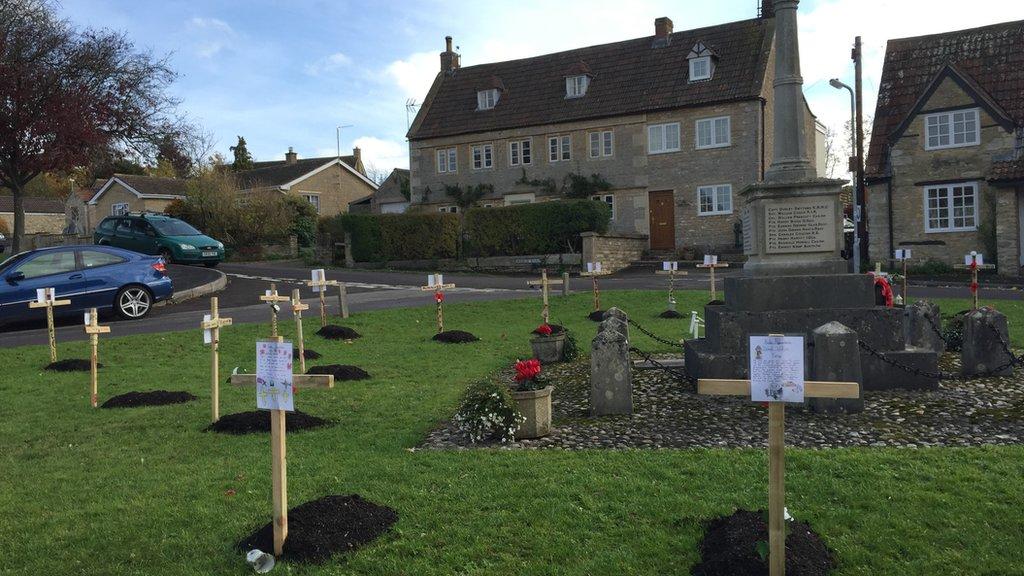 Armistice Day: WW1 graves dug on Rode village green