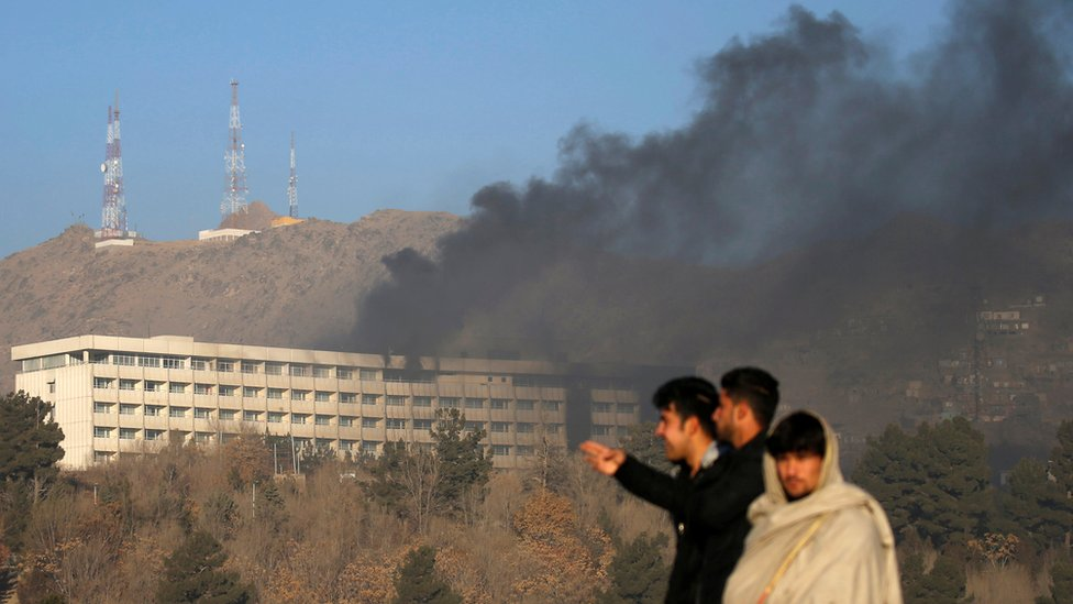 Smoke rises from the Intercontinental Hotel during an attack in Kabul, Afghanistan January 21, 2018.