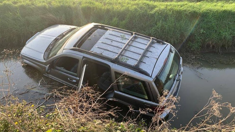 Jeep in a ditch in Cambridgeshire.