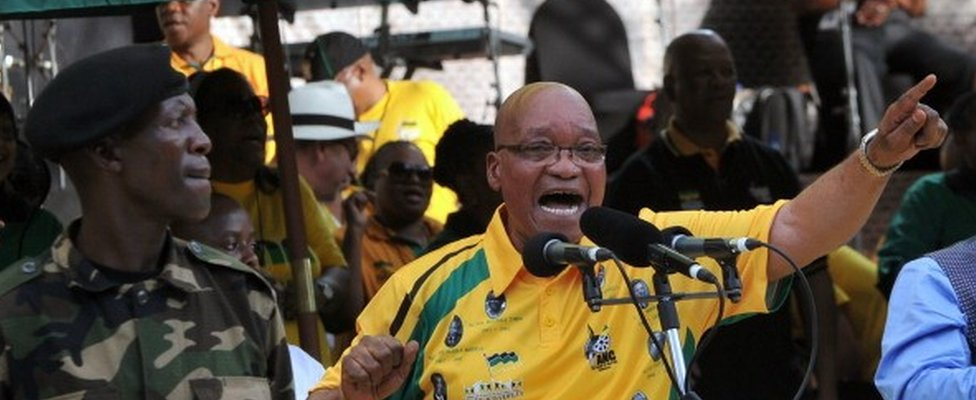 South Africa's president Jacob Zuma sings during celebrations of the centenary of Africa's oldest liberation movement, South Africa's ruling ANC, in Bloemfontein on January 8, 2012