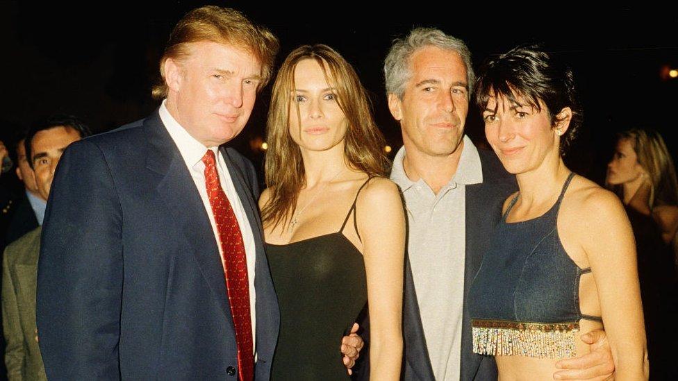 Donald y Melania Trump, Jeffrey Epstein y Ghislaine Maxwell