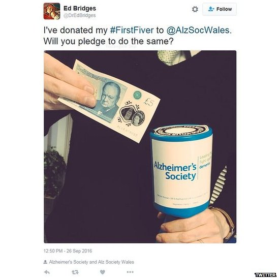 I've donated my #firstfiver to @AlzSocWales