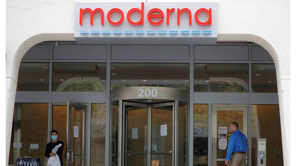 A sign marks the headquarters of Moderna Therapeutics, which is developing a vaccine against the coronavirus disease (COVID-19), in Cambridge, Massachusetts, U.S., May 18, 2020