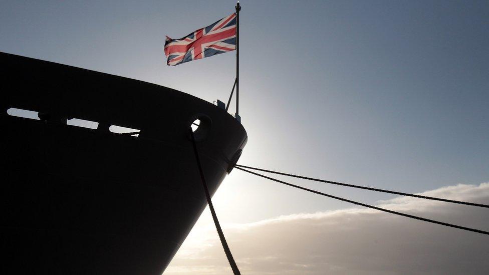 The union jack flag flies on HMS Bulwark