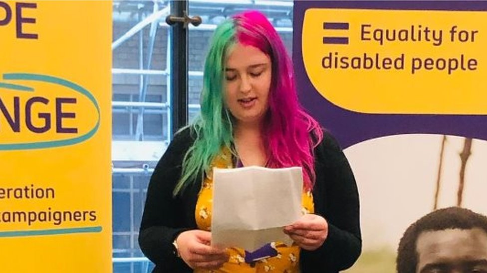 Emily Child speaking at an education event