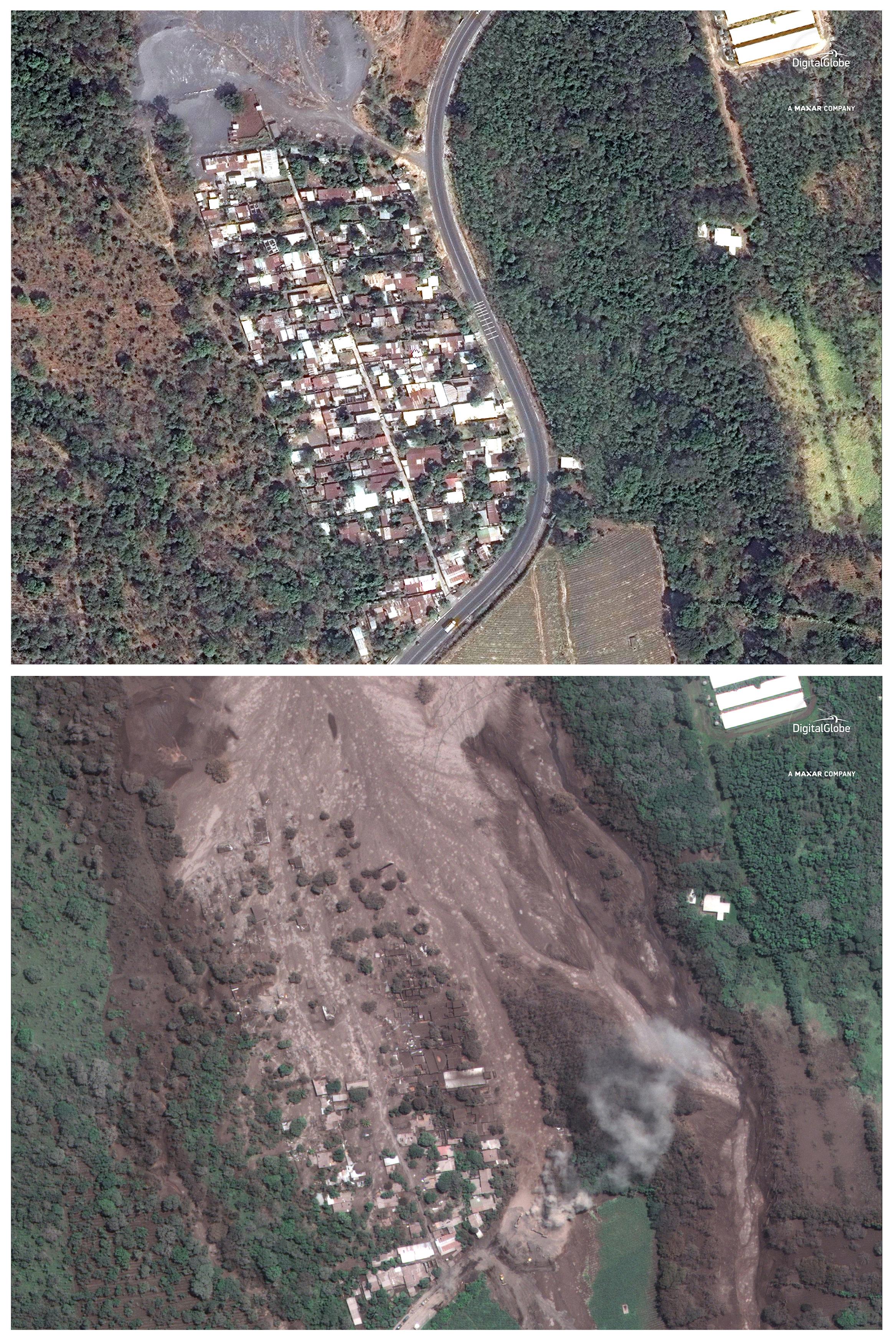 Imagen satelital de la devastación causada por la erupción del Volcán de Fuego en la zona de Los Lotes, en Guatemala