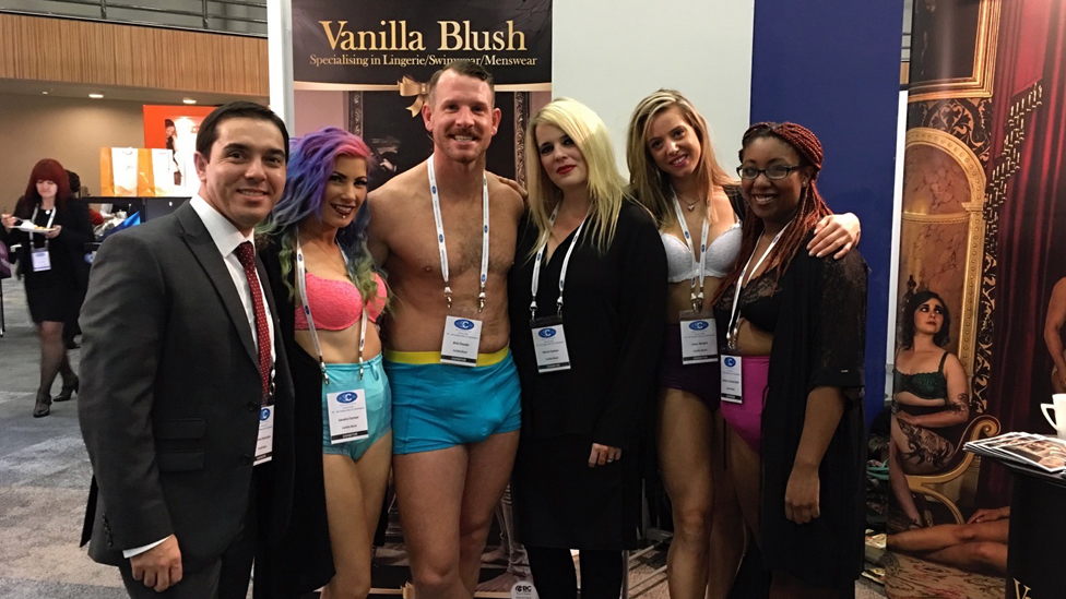 Nicola Dames, third right, with models wearing Vanilla Blush clothing