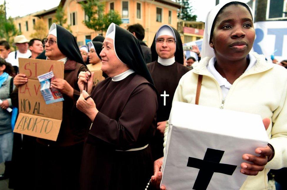 Activistas contra el aborto.