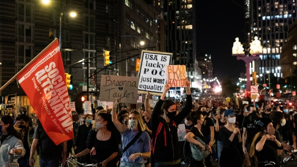 Crowds of protesters marched through Brooklyn chanting Ms Taylor's name