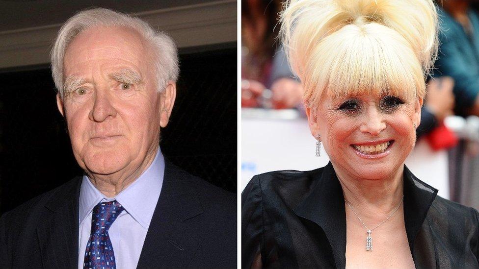 John le Carré and Dame Barbara Windsor