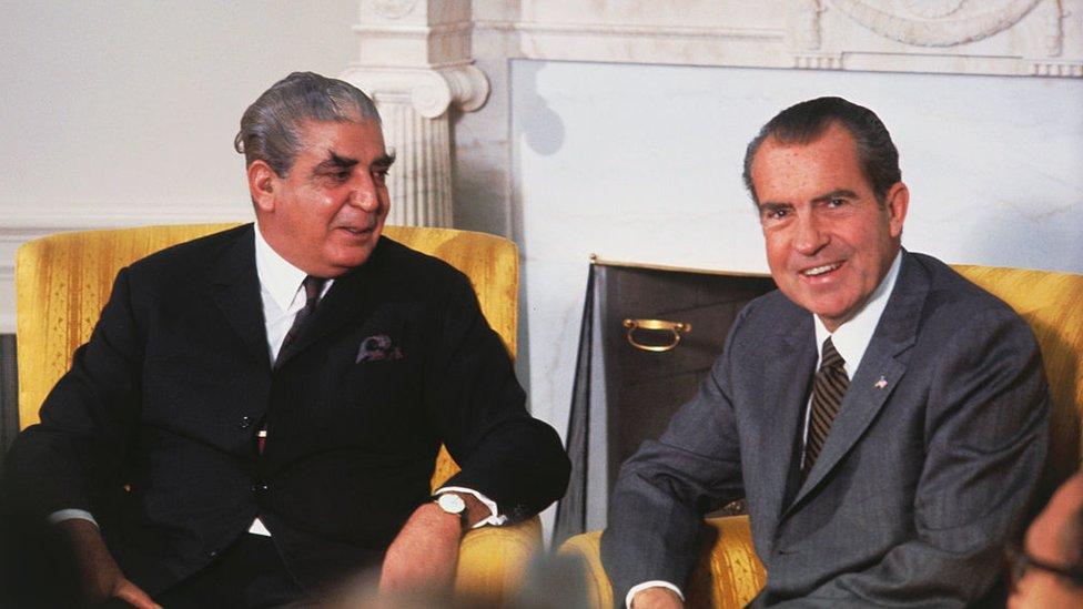 El presidente de Pakistán, Yahya Khan, y Richard Nixon.