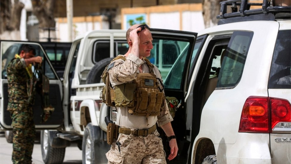 A US soldier pictured in the north Syrian city of Manbij, where the US has a military presence, on March 22, 2018.