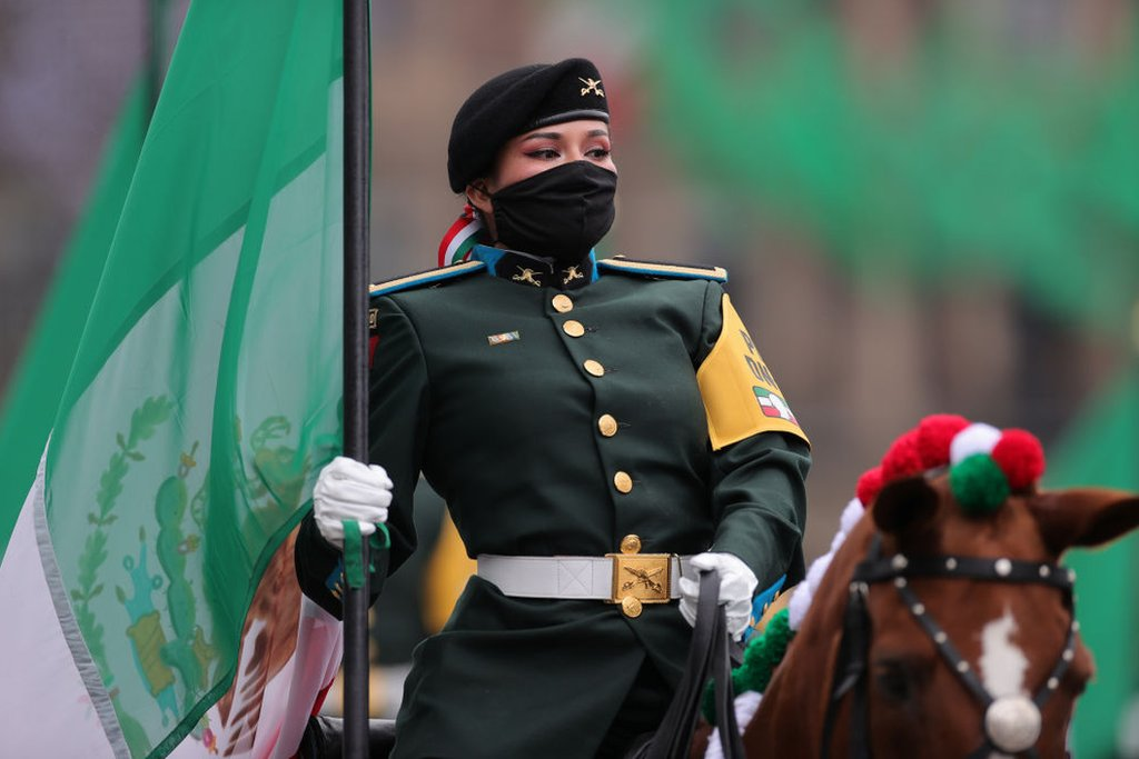 A military woman in a parade in Mexico