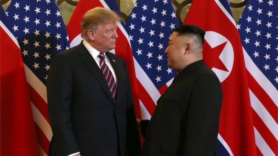 US President Donald Trump and North Korean leader Kim Jong Un meet during the second US-North Korea summit at the Metropole Hotel in Hanoi, Vietnam February 27, 2019