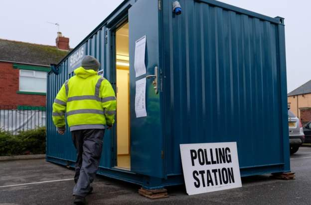 One polling station is inside a small shipping container in Hartlepool