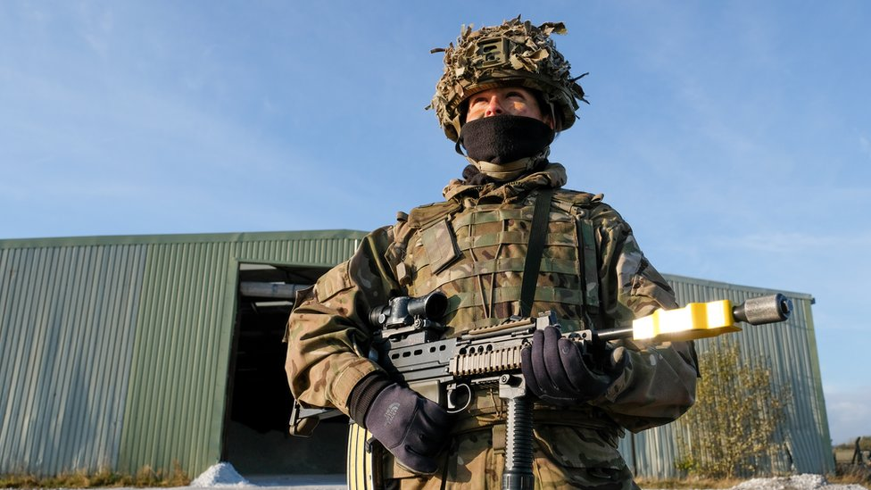 A soldier taking part in a military exercise