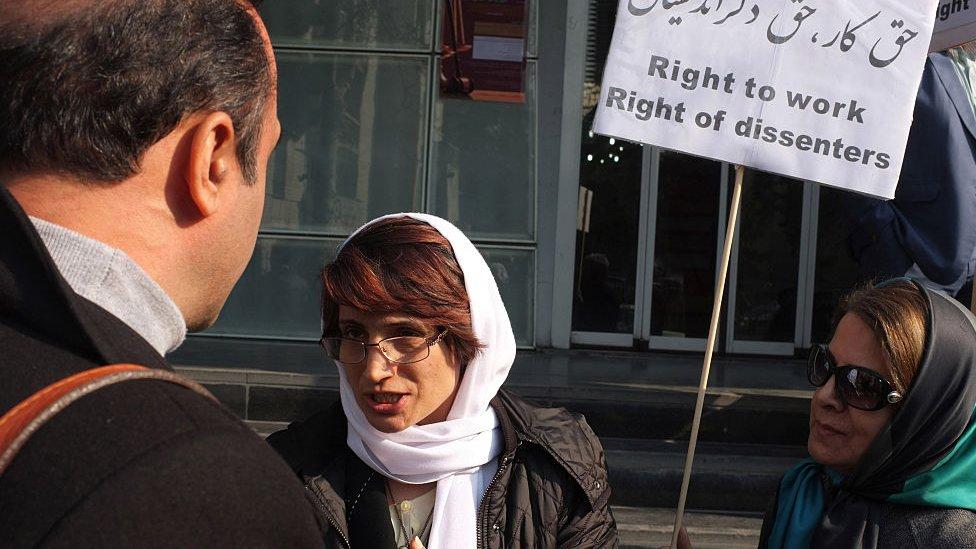 Protesta de Nasrin Sotoudeh en 2014. NO USAR / BBC