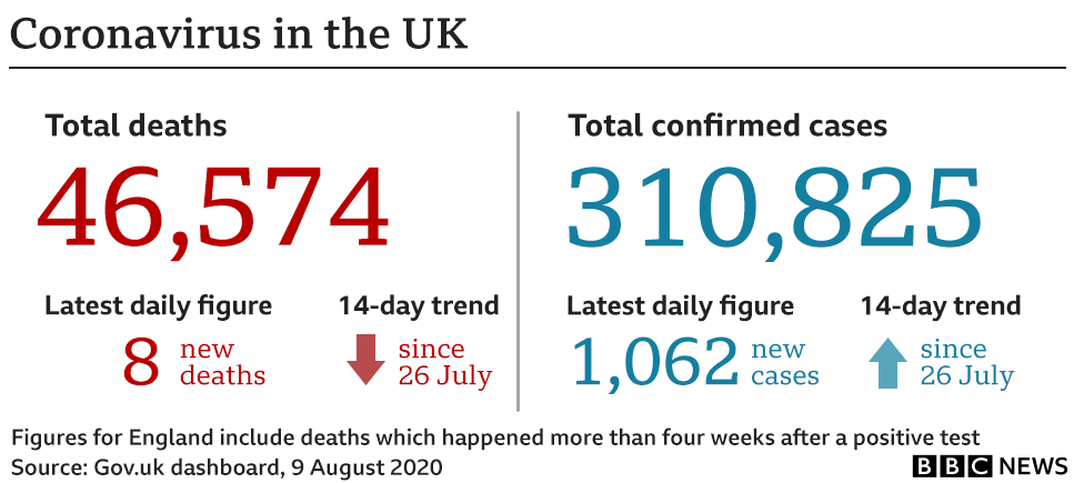 Graphic showing number of coronavirus deaths and cases in the UK