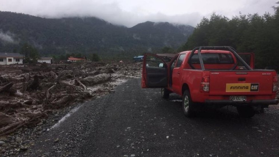 Damage done by a landslide is seen in Villa Santa Lucia, Los Lagos, Chile December 16, 2017 in this picture obtained from social media