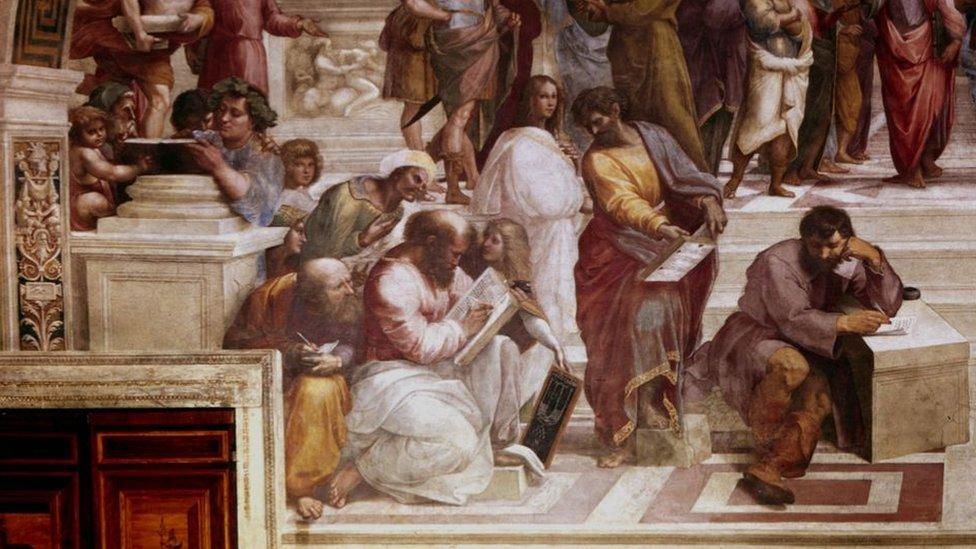 """Sección de """"La Escuela de Atenas"""""""