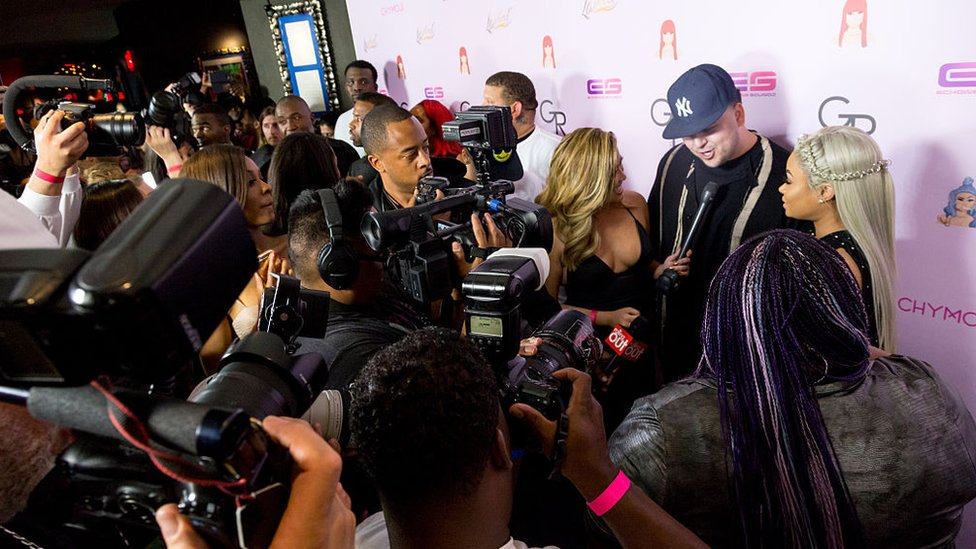 Blac Chyna and Rob Kardashian and reporters