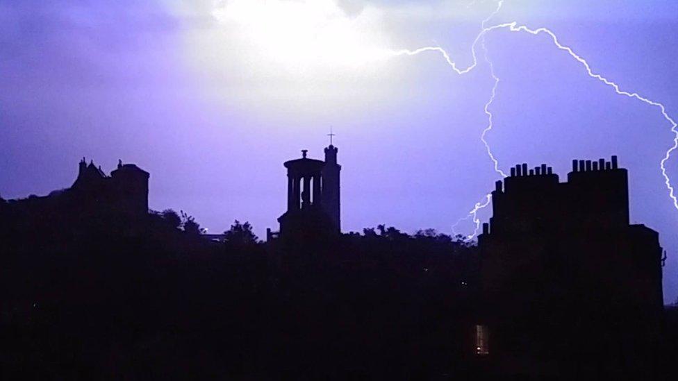 Lightning at Calton Hill Edinburgh