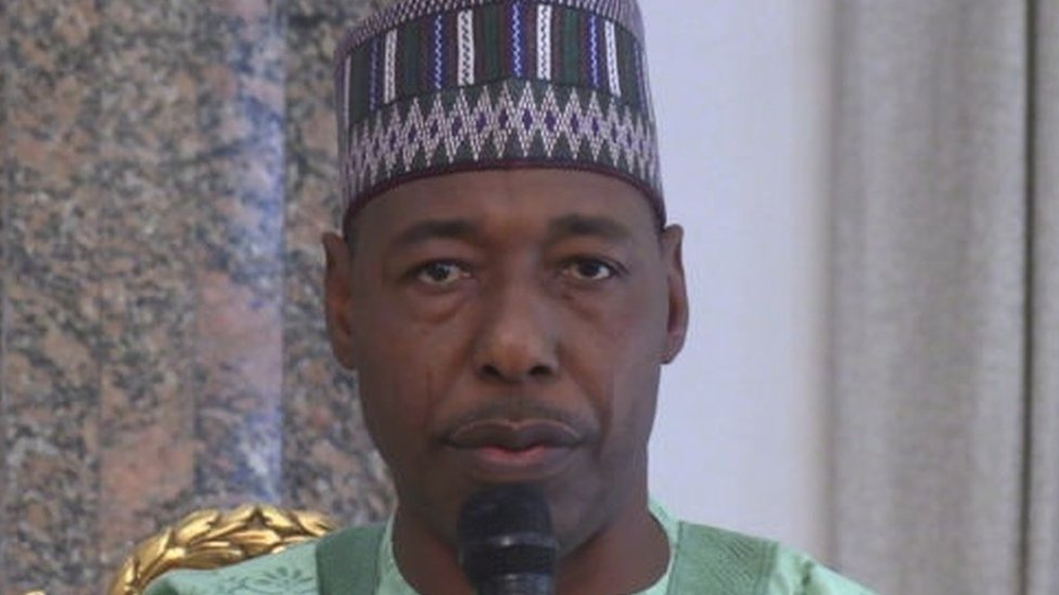 Babagana Umara Zulum, the Govorner of the Borno state, addresses people at the Shehu of Borno's palace in Maiduguri on February 12, 2020, to console with the people of the Auno community where over 30 lives were lost, 40 houses burnt and 18 vehicles set alight during an attack by insurgents on February 9, 2020