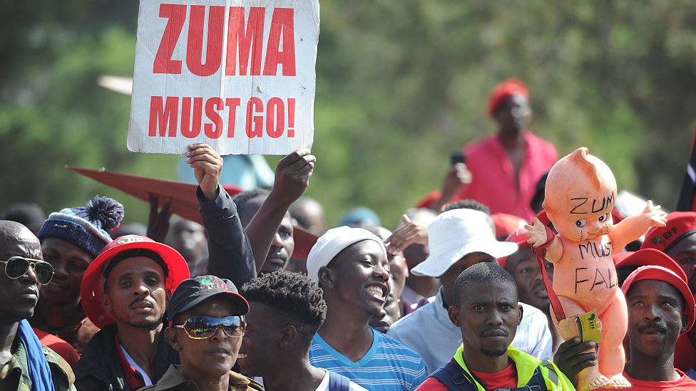 Economic Freedom Fighters supporters protest at the Pretoria CBD during a State capture march on November 02, 2016