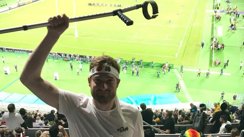 Rob in front of the pitch at the Rugby World Cup final 2019 in Japan