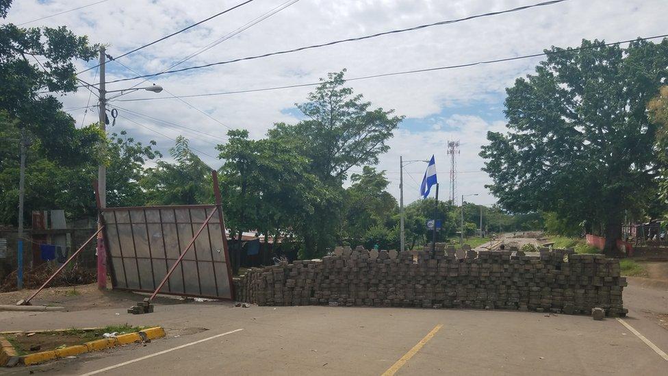 Barricada en una calle de la ciudad de Masaya.