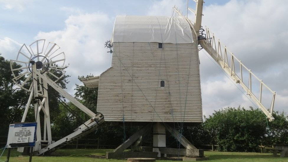 Windmill with tarpaulin