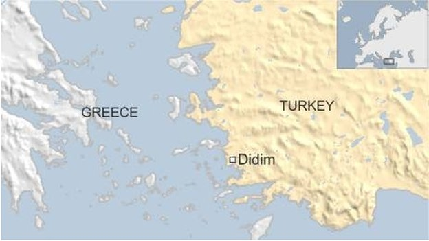map of Turkey and Greece showing Didim- March 2016