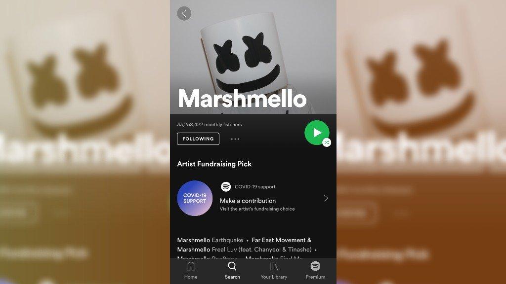 Marshmello's Spotify page